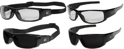405e2b0aeb50 Edge Caraz Ballistic Safety Glasses feature a full-wrap lightweight gloss  black frame with rivet accents. The lenses provide 99.9% protection from ...