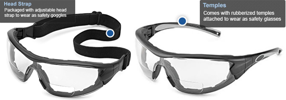 9cd0fff24e5b Glasses to goggles in just a snap…change your safety eyewear to meet your  needs. Temples and head strap included, which can be switched out with the  simple ...